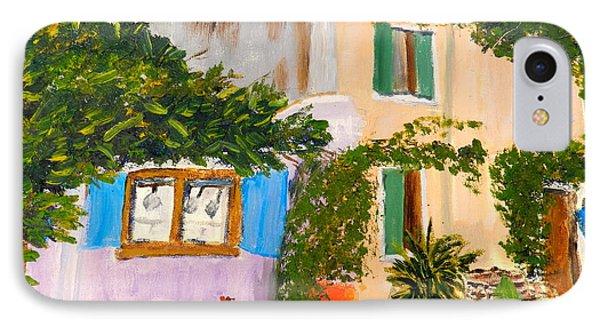 IPhone Case featuring the painting Umbera Courtyard by Pamela  Meredith