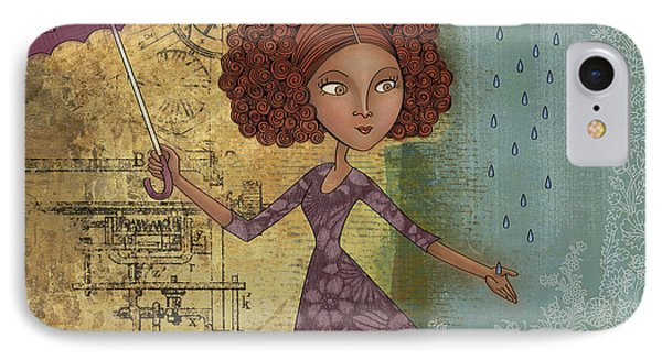 Umbrella Girl IPhone Case by Karyn Lewis Bonfiglio