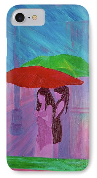 IPhone Case featuring the painting Umbrella Girls by First Star Art