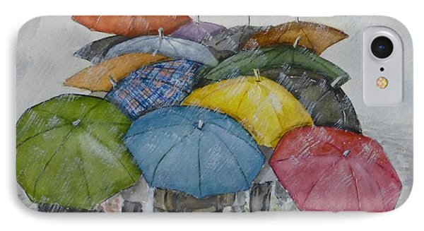 Umbrella Huddle Phone Case by Kelly Mills