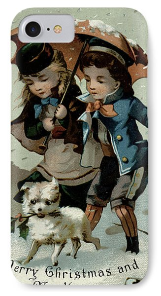 Umbrella In The Snow, Victorian Postcard IPhone Case by English School