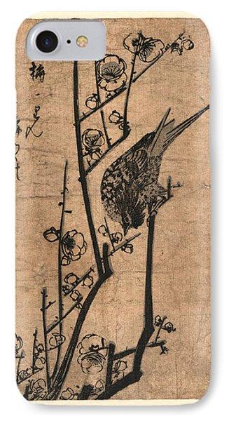 Ume Ni Uguisu, Bush Warbler On A Plum Branch IPhone Case by Utagawa Hiroshige Also And? Hiroshige (1797 ? 1858), Japanese