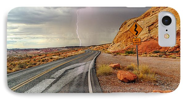 Uncertainty - Lightning Striking During A Storm In The Valley Of Fire State Park In Nevada. IPhone Case
