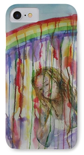 IPhone Case featuring the painting Under A Crying Rainbow by Anna Ruzsan