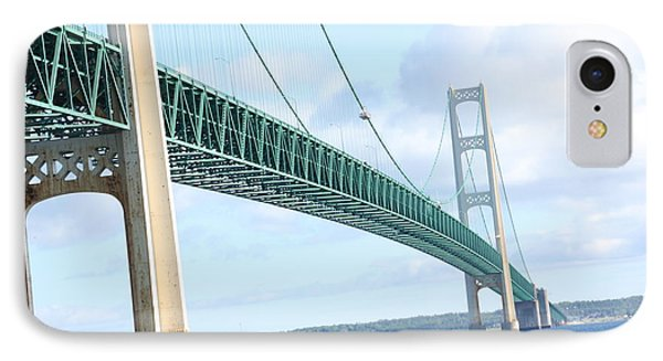IPhone Case featuring the photograph Under Mackinaw Bridge Lake Huron Pov by Bill Woodstock