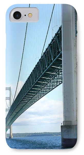 IPhone Case featuring the photograph Under Mighty Mac Lake Michigan by Bill Woodstock