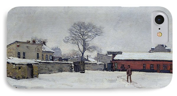 Under Snow The Farmyard At Marly-le-roi, 1876 IPhone Case by Alfred Sisley