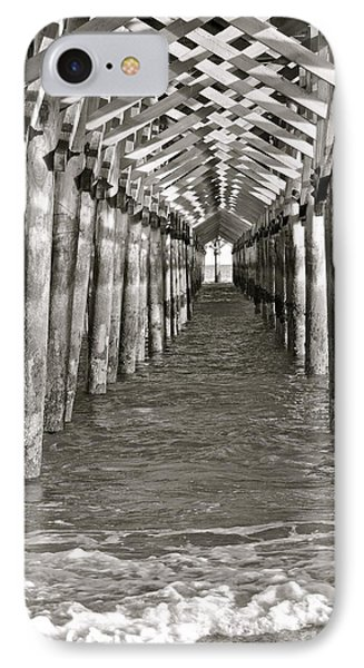 IPhone Case featuring the photograph Under The Boardwalk - B/w by Eve Spring
