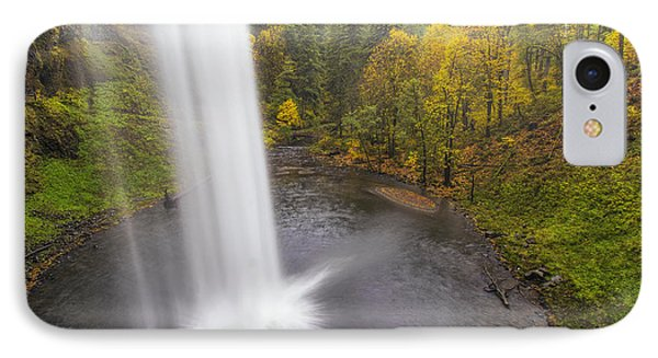 Under The Falls With Autumn Colors In Oregon Phone Case by David Gn