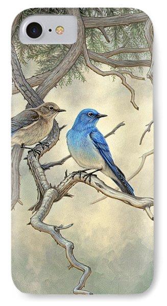 Under The Old Juniper-mountain Bluebirds Phone Case by Paul Krapf