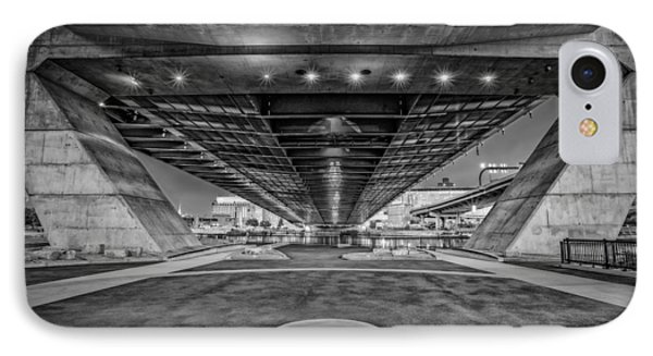 Underneath The Zakim Bridge Bw IPhone Case by Susan Candelario