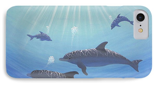 Underwater Dolphins Original Acrylic Painting Phone Case by Georgeta  Blanaru