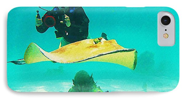 Underwater Photographer And Stingray Phone Case by John Malone Halifax Artist
