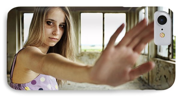 Unhappy Girl Showing Stop IPhone Case