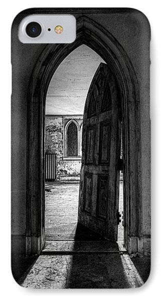 Unhinged - Old Gothic Door In An Abandoned Castle Phone Case by Gary Heller