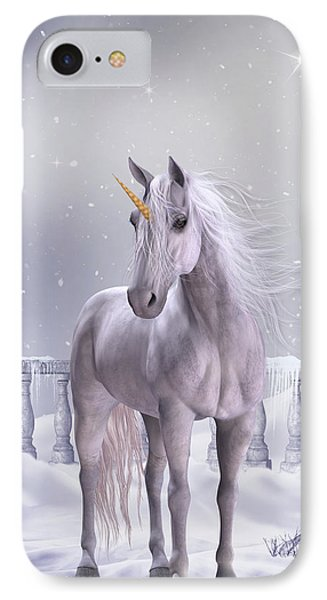 IPhone Case featuring the digital art Unicorn In The Snow by Jayne Wilson