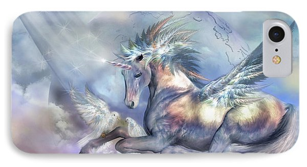 Unicorn Of Peace Phone Case by Carol Cavalaris