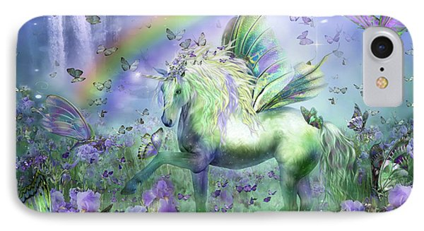 Unicorn Of The Butterflies Phone Case by Carol Cavalaris
