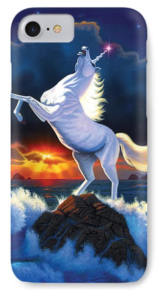 Unicorn Raging Sea IPhone Case by Chris Heitt