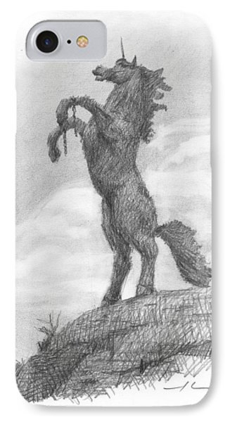 Unicorn Statue Pencil Portrait IPhone Case by Mike Theuer