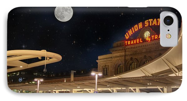 Union Station Denver Under A Full Moon IPhone Case by Juli Scalzi