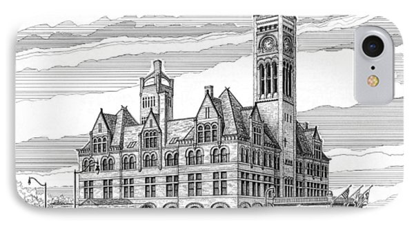 IPhone Case featuring the drawing Union Station In Nashville Tn by Janet King