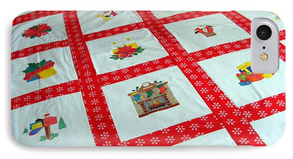 Unique Quilt With Christmas Season Images IPhone Case by Barbara Griffin