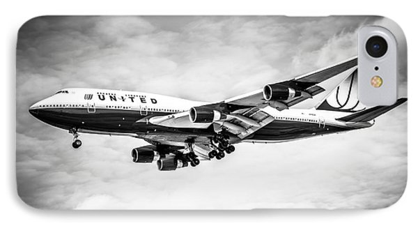 United Airlines Boeing 747 Airplane Black And White Phone Case by Paul Velgos