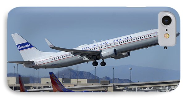 United Boeing 737-924 N75436 Continental Retro Taking Off Phoenix Sky Harbor March 6 2015 Phone Case by Brian Lockett