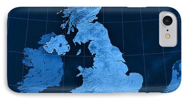 United Kingdom Topographic Map IPhone Case by Frank Ramspott
