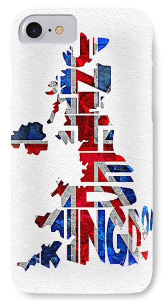 United Kingdom Typographic Kingdom IPhone Case by Ayse Deniz