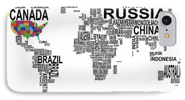 United States And The Rest Of The World In Text Map IPhone Case by Daniel Hagerman