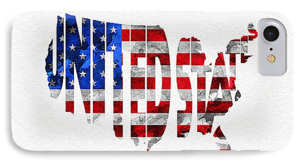 United States Typographic Map Flag IPhone Case by Ayse Deniz