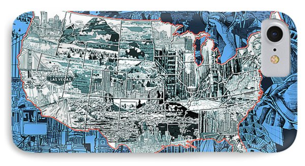 United States Drawing Collage Map 2 IPhone Case