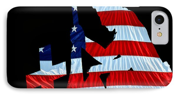 A Time To Remember United States Flag With Kneeling Soldier Silhouette IPhone Case by Bob Orsillo