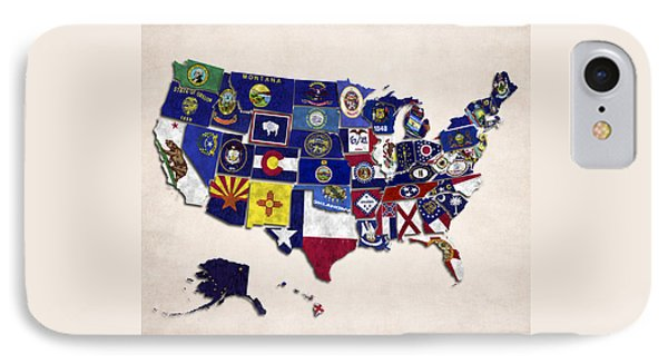 United States Map With Fifty States IPhone Case by World Art Prints And Designs