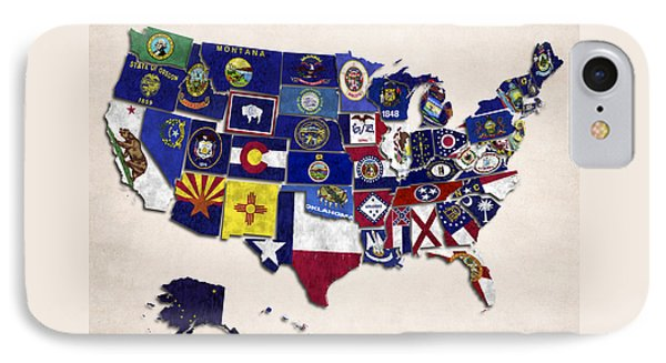 United States Map With Fifty States Phone Case by World Art Prints And Designs