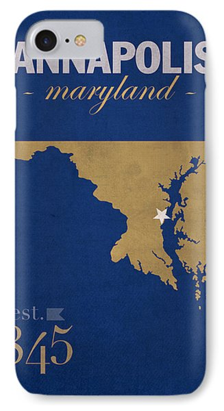 United States Naval Academy Navy Midshipmen Annapolis College Town State Map Poster Series No 070 IPhone Case