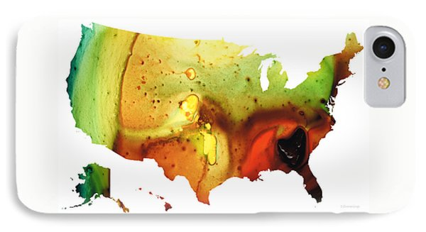 United States Of America Map 5 - Colorful Usa Phone Case by Sharon Cummings
