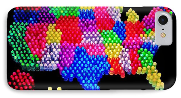 United States Of Lite Brite Phone Case by Benjamin Yeager