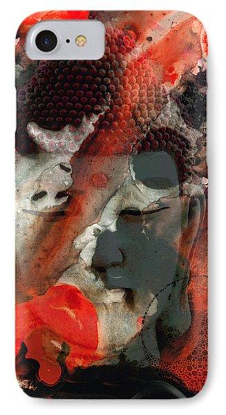 Universal Qi - Zen Black And Red Art Phone Case by Sharon Cummings