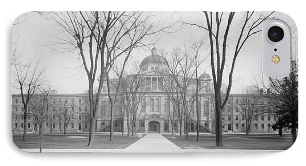 University Hall, University Of Michigan, C.1905 Bw Photo IPhone 7 Case by Detroit Publishing Co.