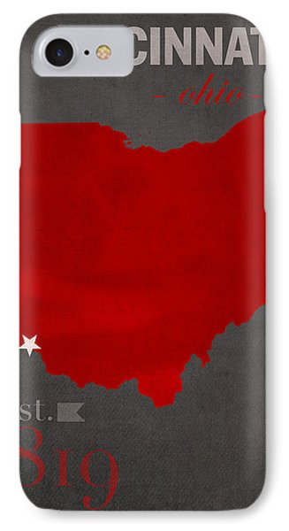 University Of Cincinnati Bearcats College Town Ohio State Map Poster Series No 029 IPhone Case
