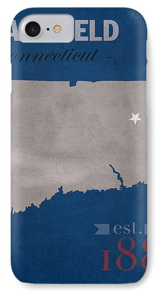 University Of Connecticut Huskies Mansfield College Town State Map Poster Series No 033 IPhone Case by Design Turnpike
