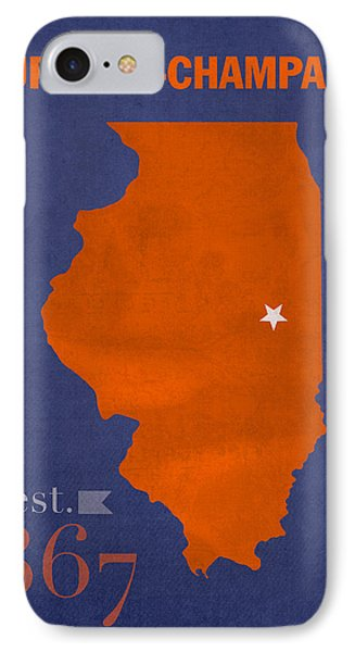 University Of Illinois Fighting Illini Urbana Champaign College Town State Map Poster Series No 047 IPhone Case