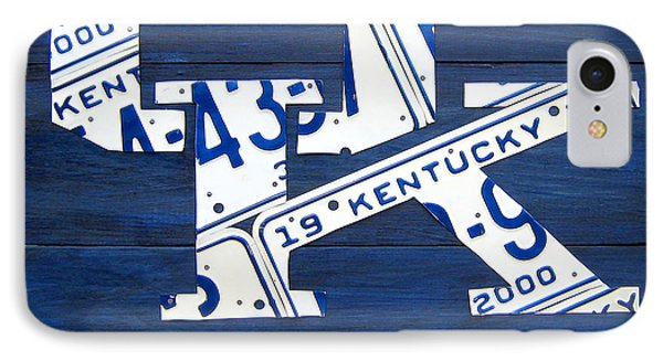 University Of Kentucky Wildcats Sports Team Retro Logo Recycled Vintage Bluegrass State License Plate Art IPhone Case