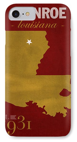 University Of Louisiana Monroe Warhawks College Town State Map Poster Series No 058 IPhone Case