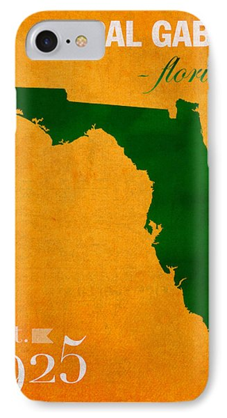 University Of Miami Hurricanes Coral Gables College Town Florida State Map Poster Series No 002 IPhone Case by Design Turnpike