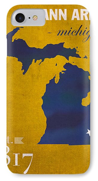 University Of Michigan Wolverines Ann Arbor College Town State Map Poster Series No 001 IPhone 7 Case by Design Turnpike