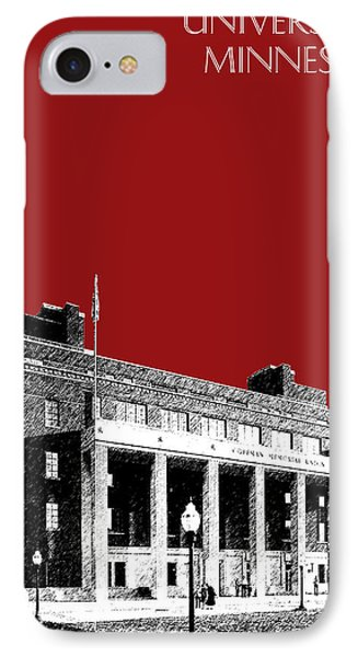 University Of Minnesota - Coffman Union - Dark Red IPhone Case